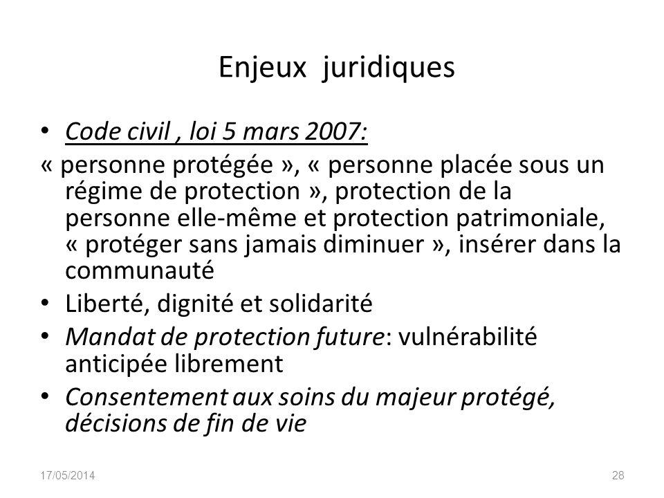Enjeux juridiques Code civil, loi 5 mars 2007: « personne protégée », « personne placée sous un régime de protection », protection de la personne elle
