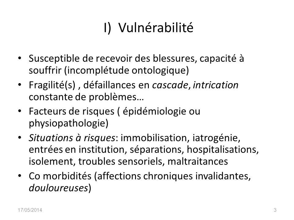 I) Vulnérabilité Susceptible de recevoir des blessures, capacité à souffrir (incomplétude ontologique) Fragilité(s), défaillances en cascade, intricat