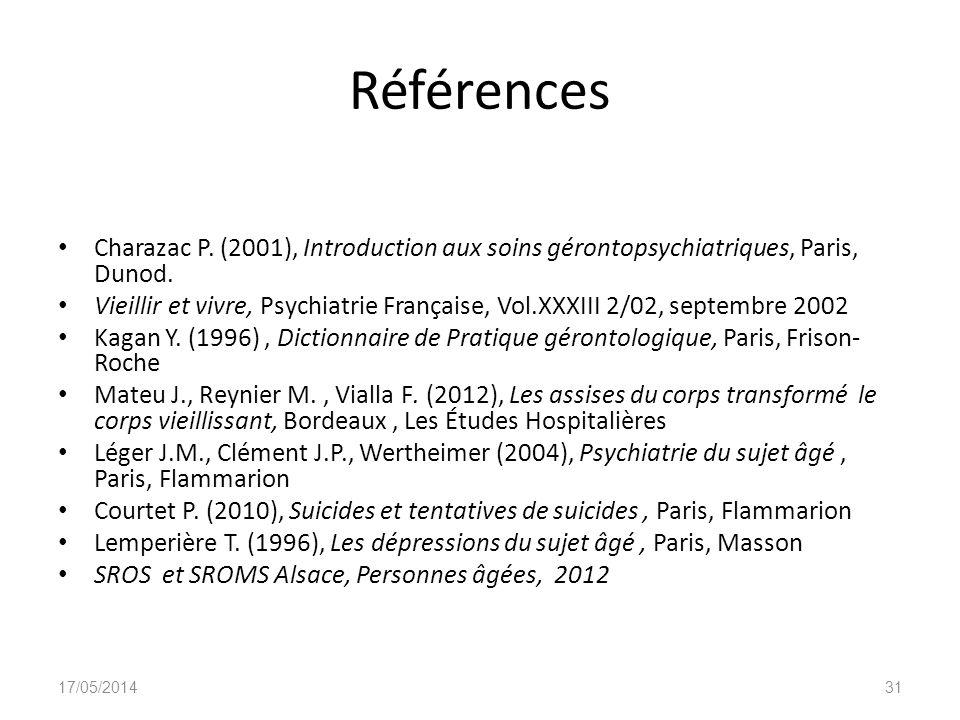 Références Charazac P. (2001), Introduction aux soins gérontopsychiatriques, Paris, Dunod. Vieillir et vivre, Psychiatrie Française, Vol.XXXIII 2/02,