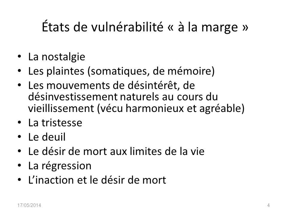 États de vulnérabilité « à la marge » La nostalgie Les plaintes (somatiques, de mémoire) Les mouvements de désintérêt, de désinvestissement naturels a