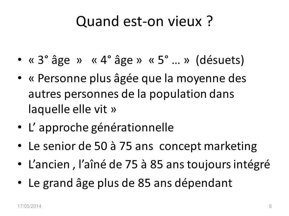 Quand est-on vieux ? « 3° âge » « 4° âge » « 5° … » (désuets) « Personne plus âgée que la moyenne des autres personnes de la population dans laquelle