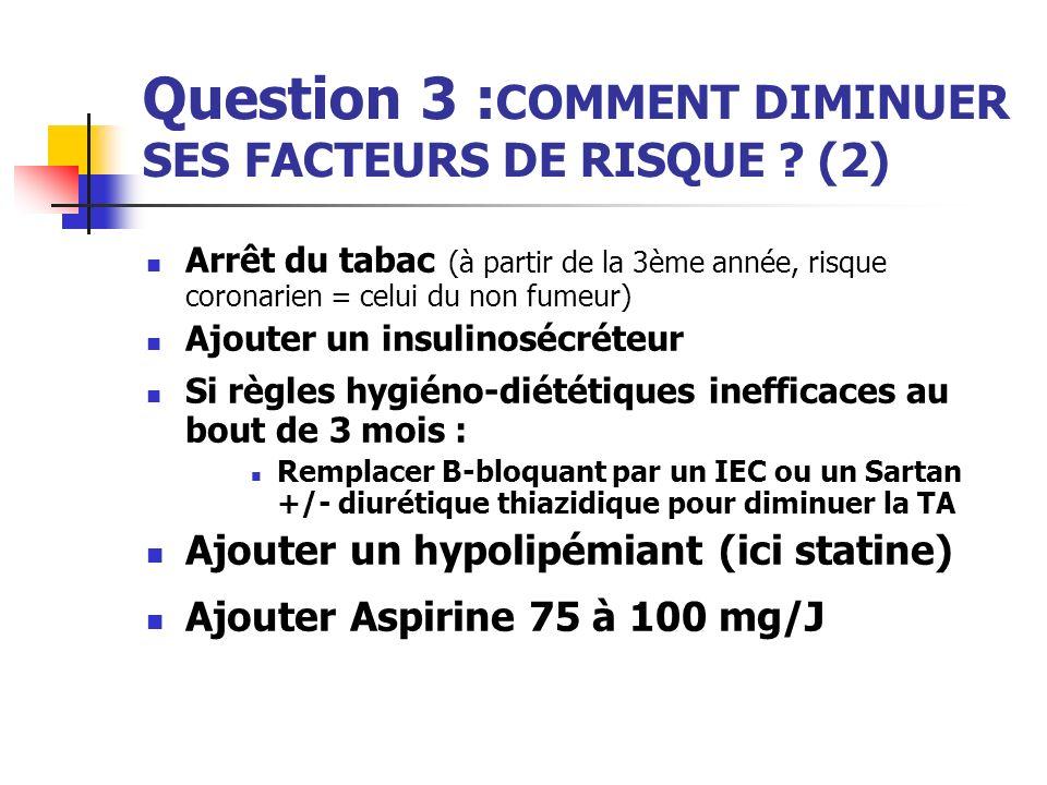 Question 3 : COMMENT DIMINUER SES FACTEURS DE RISQUE ? (2) Arrêt du tabac (à partir de la 3ème année, risque coronarien = celui du non fumeur) Ajouter