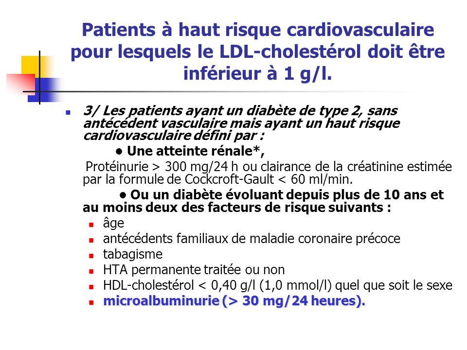 Patients à haut risque cardiovasculaire pour lesquels le LDL-cholestérol doit être inférieur à 1 g/l. 3/ Les patients ayant un diabète de type 2, sans