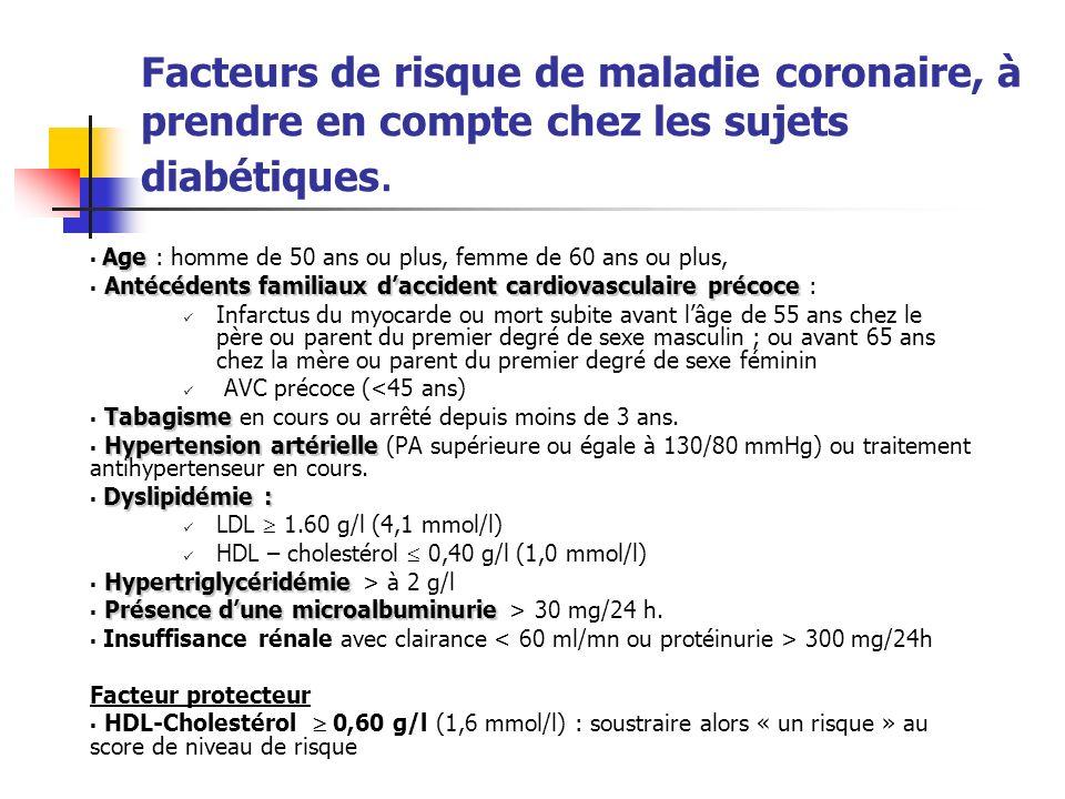 Facteurs de risque de maladie coronaire, à prendre en compte chez les sujets diabétiques. Age Age : homme de 50 ans ou plus, femme de 60 ans ou plus,