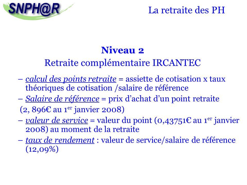 La retraite des PH Niveau 2 Retraite complémentaire IRCANTEC –calcul des points retraite = assiette de cotisation x taux théoriques de cotisation /sal