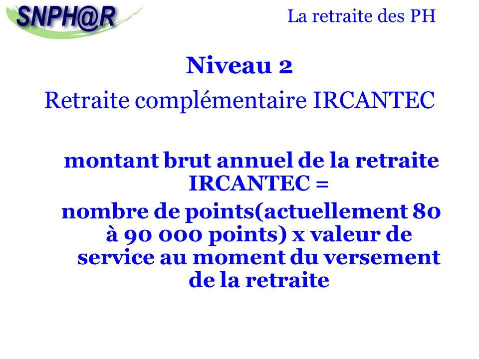 La retraite des PH Niveau 2 Retraite complémentaire IRCANTEC montant brut annuel de la retraite IRCANTEC = nombre de points(actuellement 80 à 90 000 p