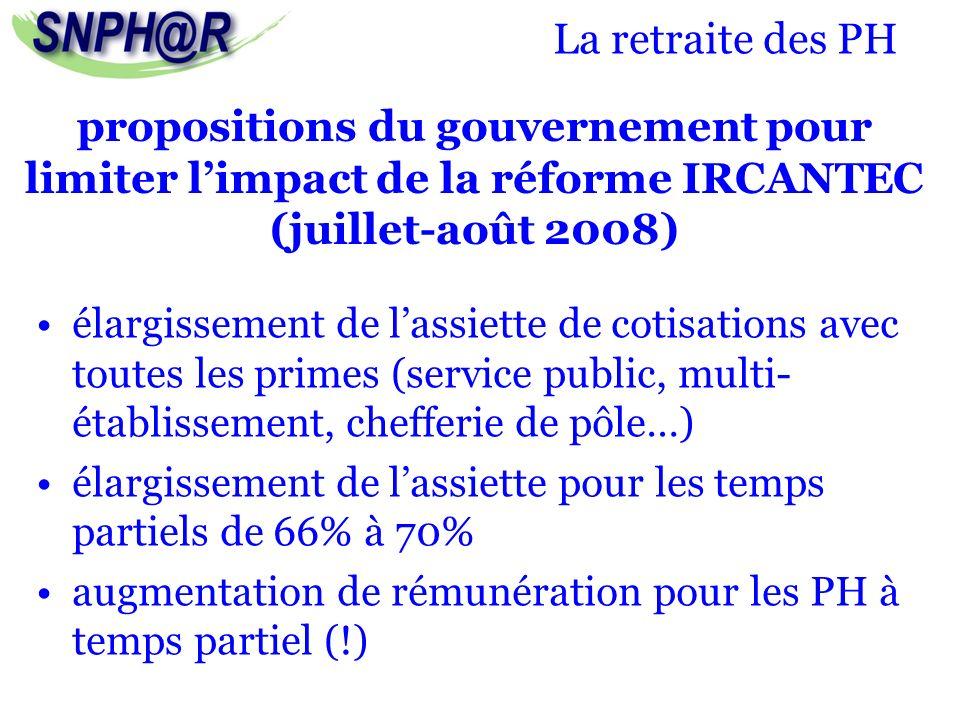 La retraite des PH élargissement de lassiette de cotisations avec toutes les primes (service public, multi- établissement, chefferie de pôle…) élargis