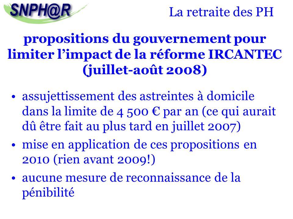 La retraite des PH assujettissement des astreintes à domicile dans la limite de 4 500 par an (ce qui aurait dû être fait au plus tard en juillet 2007)