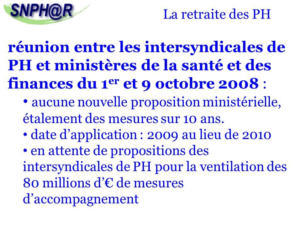 La retraite des PH réunion entre les intersyndicales de PH et ministères de la santé et des finances du 1 er et 9 octobre 2008 : aucune nouvelle propo