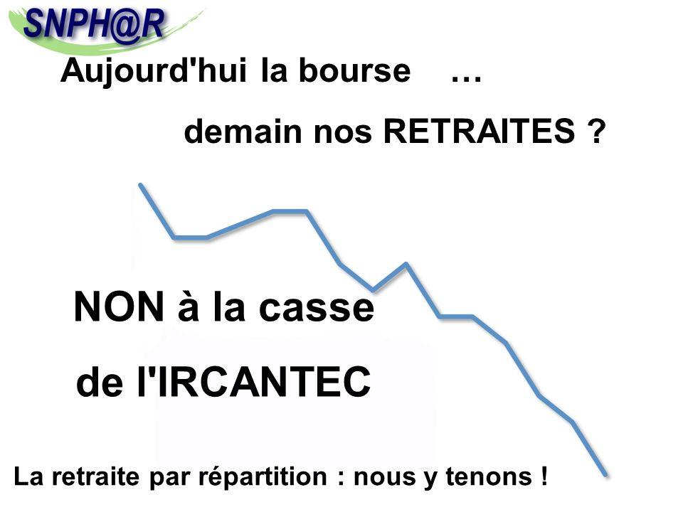 Aujourd'hui la bourse … demain nos RETRAITES ? NON à la casse de l'IRCANTEC La retraite par répartition : nous y tenons !