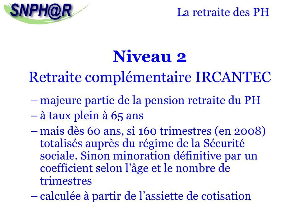 La retraite des PH Niveau 2 Retraite complémentaire IRCANTEC –majeure partie de la pension retraite du PH –à taux plein à 65 ans –mais dès 60 ans, si