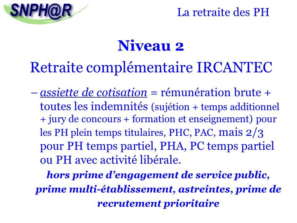 La retraite des PH Niveau 2 Retraite complémentaire IRCANTEC –assiette de cotisation = rémunération brute + toutes les indemnités (sujétion + temps ad