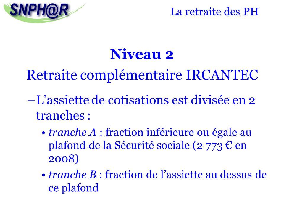 La retraite des PH Niveau 2 Retraite complémentaire IRCANTEC –Lassiette de cotisations est divisée en 2 tranches : tranche A : fraction inférieure ou
