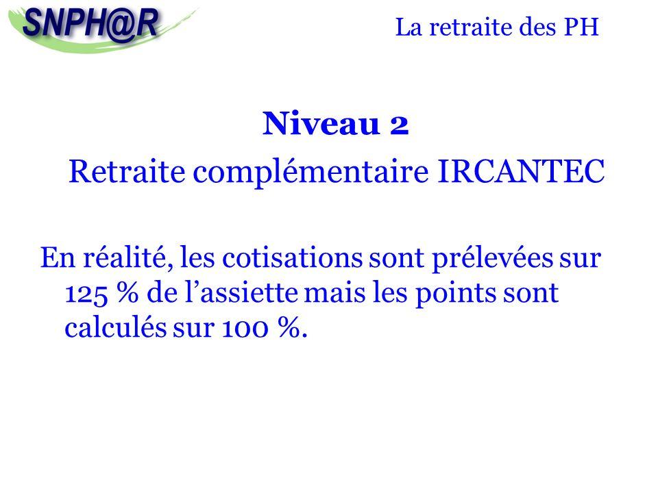 La retraite des PH Niveau 2 Retraite complémentaire IRCANTEC En réalité, les cotisations sont prélevées sur 125 % de lassiette mais les points sont ca