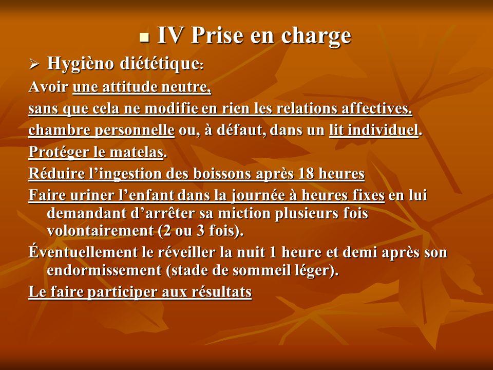IV Prise en charge IV Prise en charge Hygièno diététique : Hygièno diététique : Avoir une attitude neutre, sans que cela ne modifie en rien les relati
