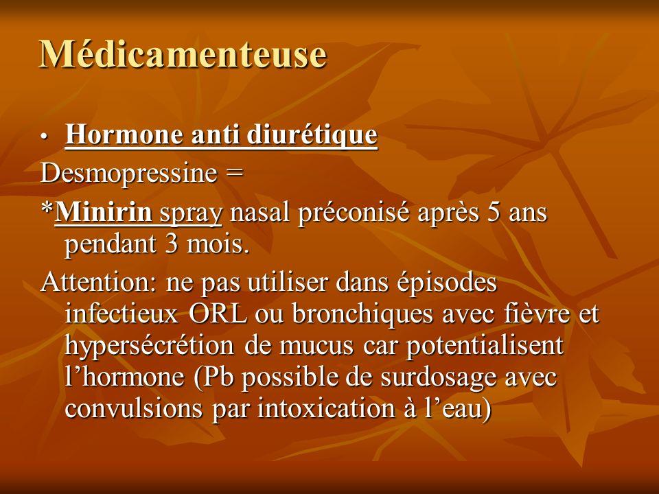 Médicamenteuse Hormone anti diurétique Hormone anti diurétique Desmopressine = *Minirin spray nasal préconisé après 5 ans pendant 3 mois. Attention: n