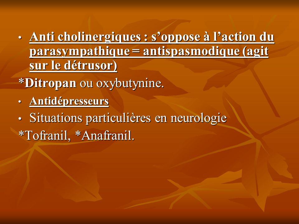 Anti cholinergiques : soppose à laction du parasympathique = antispasmodique (agit sur le détrusor) Anti cholinergiques : soppose à laction du parasym