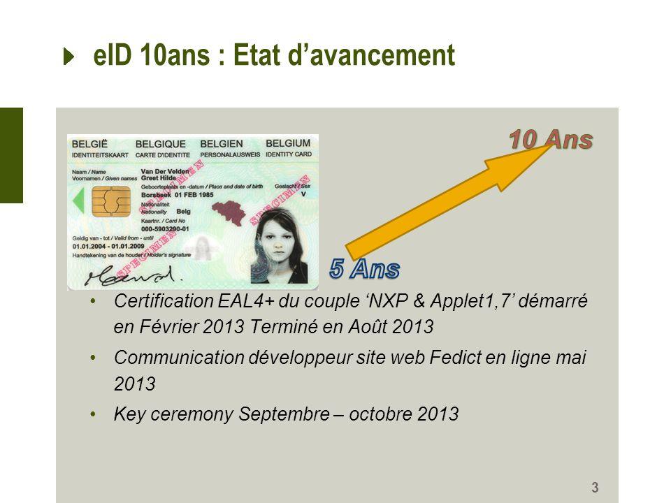 3 eID 10ans : Etat davancement