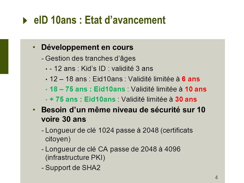 Développement en cours -Gestion des tranches dâges - 12 ans : Kids ID : validité 3 ans 12 – 18 ans : Eid10ans : Validité limitée à 6 ans 18 – 75 ans :