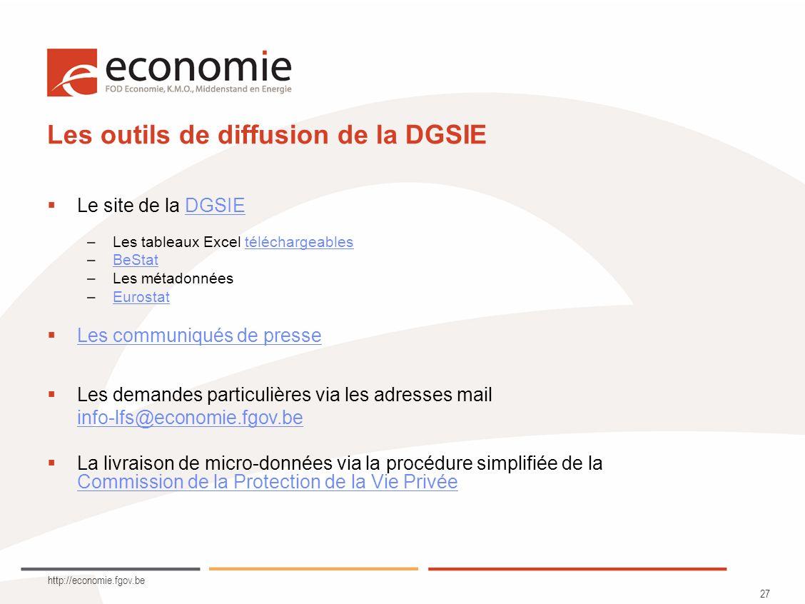 http://economie.fgov.be 27 Les outils de diffusion de la DGSIE Le site de la DGSIEDGSIE –Les tableaux Excel téléchargeablestéléchargeables –BeStatBeSt