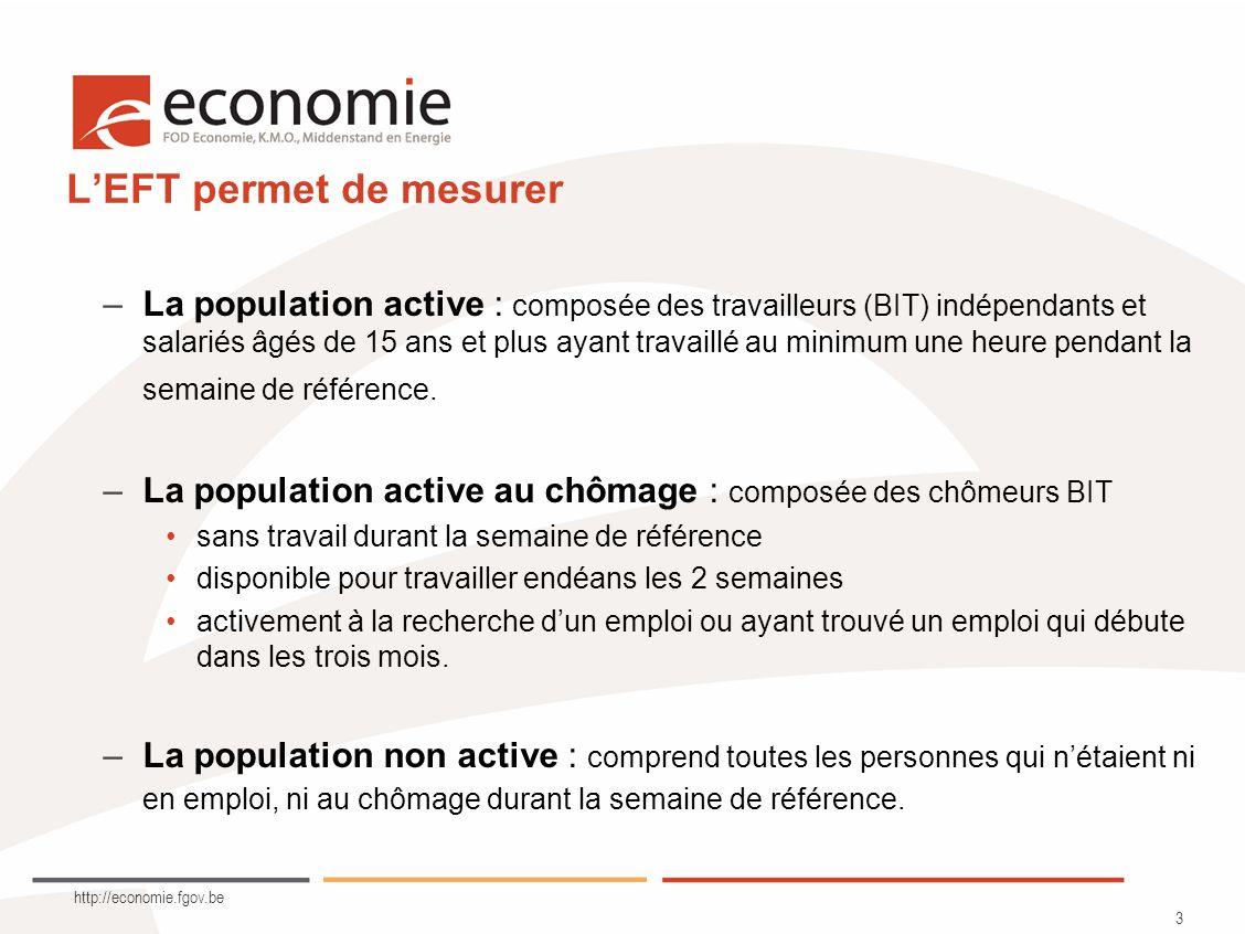 http://economie.fgov.be 3 LEFT permet de mesurer –La population active : composée des travailleurs (BIT) indépendants et salariés âgés de 15 ans et pl