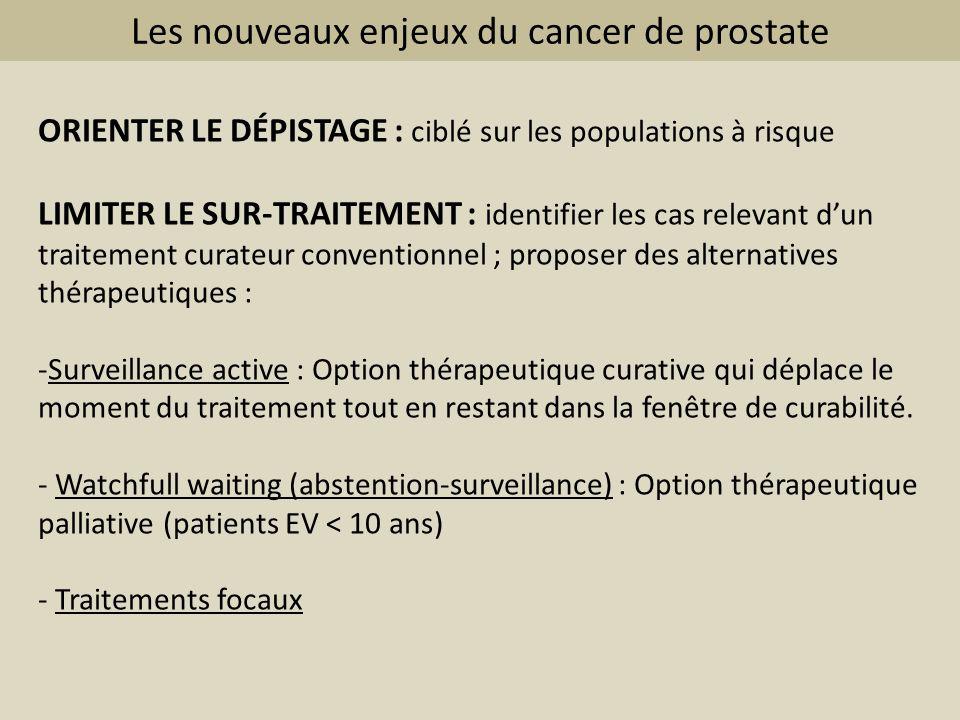 Les nouveaux enjeux du cancer de prostate ORIENTER LE DÉPISTAGE : ciblé sur les populations à risque LIMITER LE SUR-TRAITEMENT : identifier les cas re