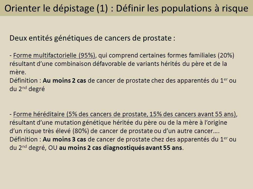 Orienter le dépistage (1) : Définir les populations à risque Deux entités génétiques de cancers de prostate : - Forme multifactorielle (95%), qui comp