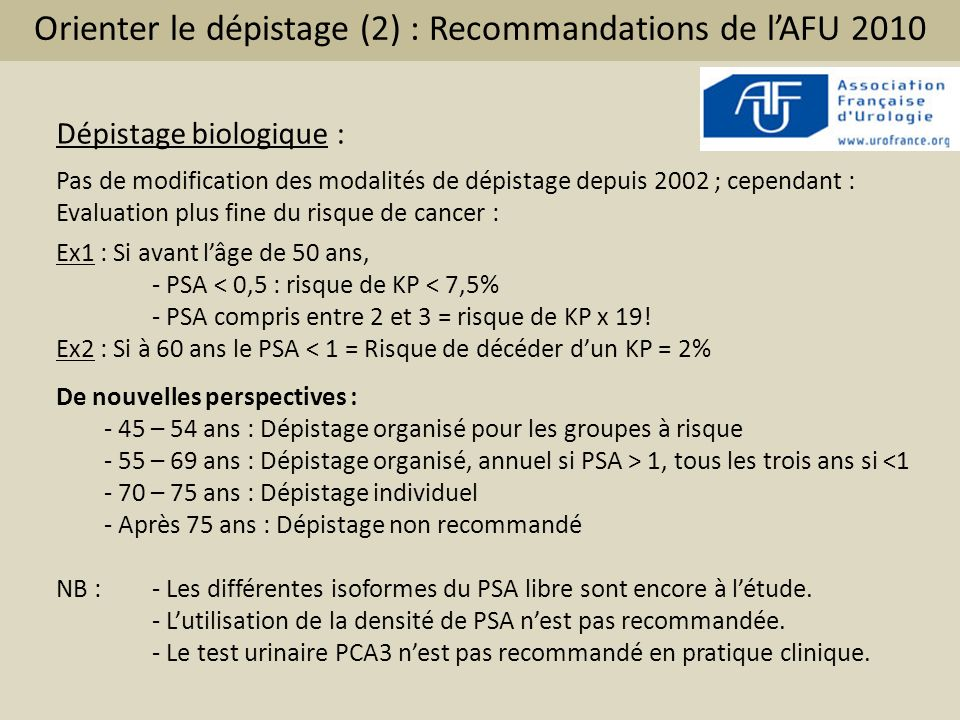 Orienter le dépistage (2) : Recommandations de lAFU 2010 Dépistage biologique : Pas de modification des modalités de dépistage depuis 2002 ; cependant