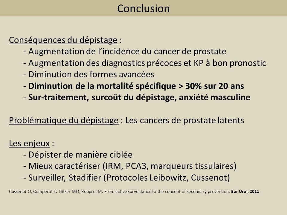 Conclusion Conséquences du dépistage : - Augmentation de lincidence du cancer de prostate - Augmentation des diagnostics précoces et KP à bon pronosti