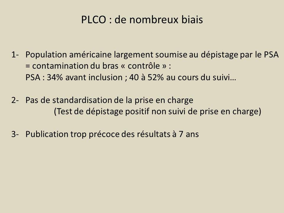 PLCO : de nombreux biais 1- Population américaine largement soumise au dépistage par le PSA = contamination du bras « contrôle » : PSA : 34% avant inc