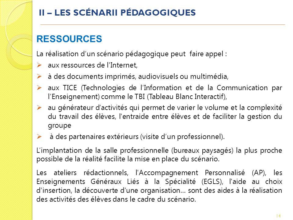 II – LES SCÉNARII PÉDAGOGIQUES 14 RESSOURCES La réalisation dun scénario pédagogique peut faire appel : aux ressources de l'Internet, à des documents