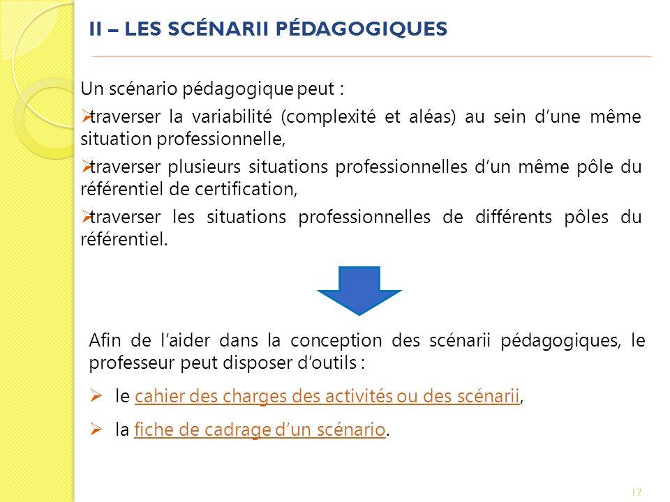 II – LES SCÉNARII PÉDAGOGIQUES 17 Un scénario pédagogique peut : traverser la variabilité (complexité et aléas) au sein dune même situation profession