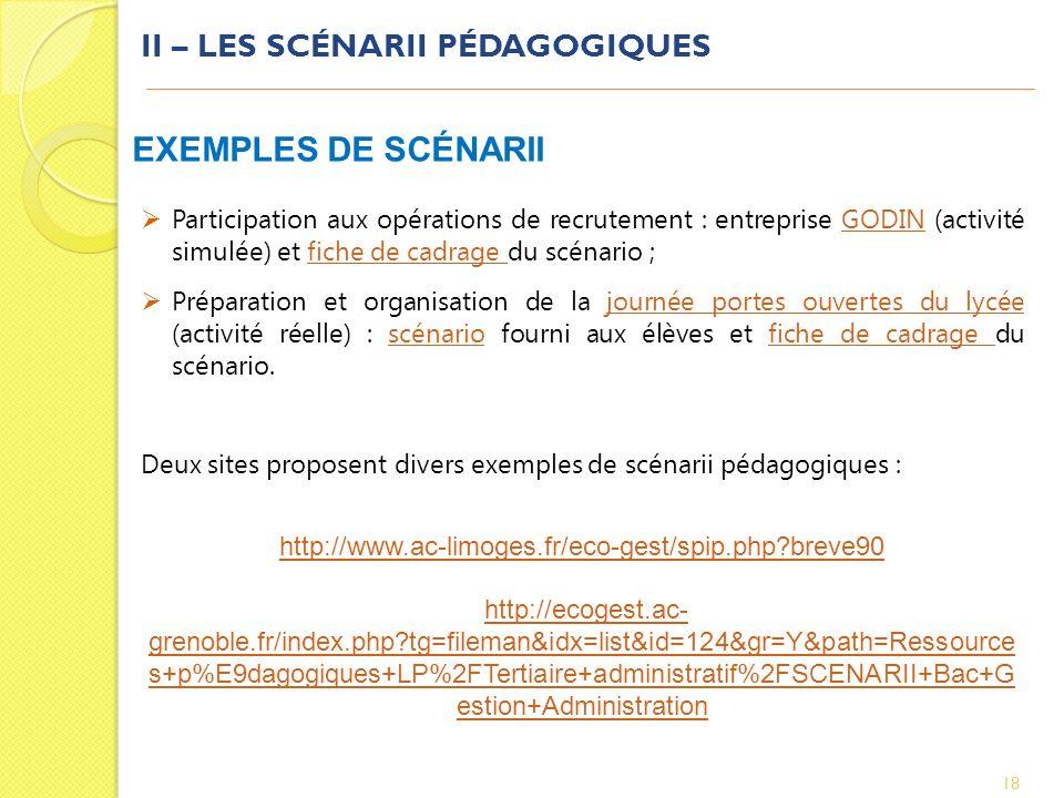 II – LES SCÉNARII PÉDAGOGIQUES 18 EXEMPLES DE SCÉNARII Participation aux opérations de recrutement : entreprise GODIN (activité simulée) et fiche de c