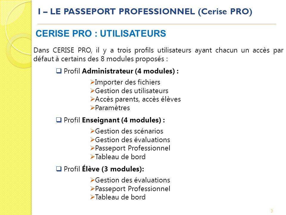 I – LE PASSEPORT PROFESSIONNEL (Cerise PRO) 3 CERISE PRO : UTILISATEURS Dans CERISE PRO, il y a trois profils utilisateurs ayant chacun un accès par d