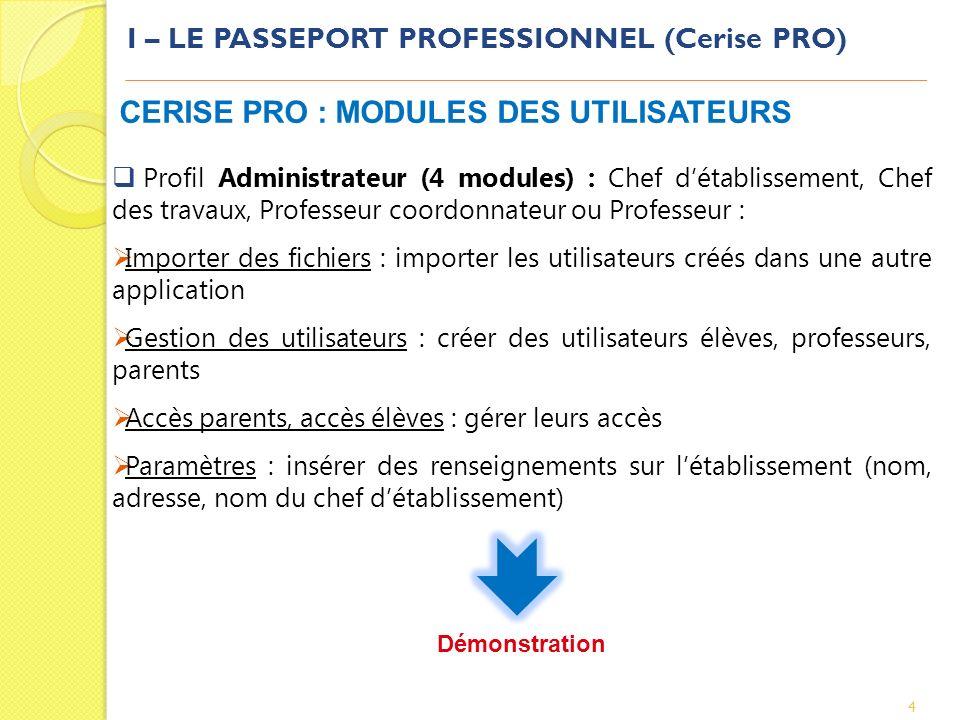 I – LE PASSEPORT PROFESSIONNEL (Cerise PRO) 4 CERISE PRO : MODULES DES UTILISATEURS Profil Administrateur (4 modules) : Chef détablissement, Chef des