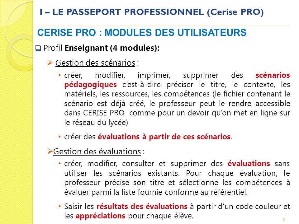 I – LE PASSEPORT PROFESSIONNEL (Cerise PRO) 5 CERISE PRO : MODULES DES UTILISATEURS Profil Enseignant (4 modules): Gestion des scénarios : créer, modi