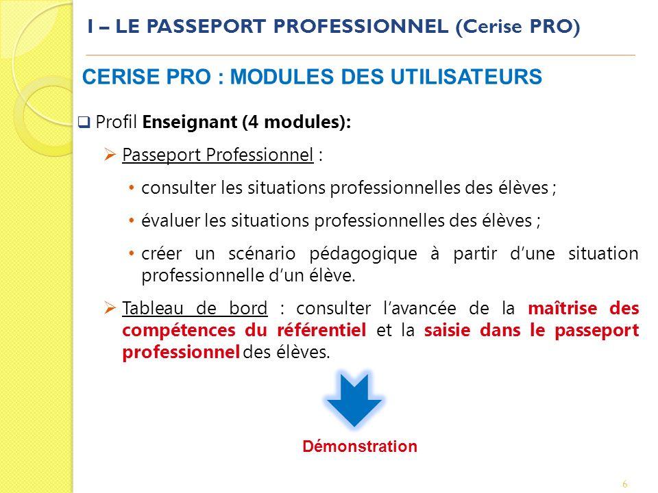 I – LE PASSEPORT PROFESSIONNEL (Cerise PRO) 6 CERISE PRO : MODULES DES UTILISATEURS Profil Enseignant (4 modules): Passeport Professionnel : consulter