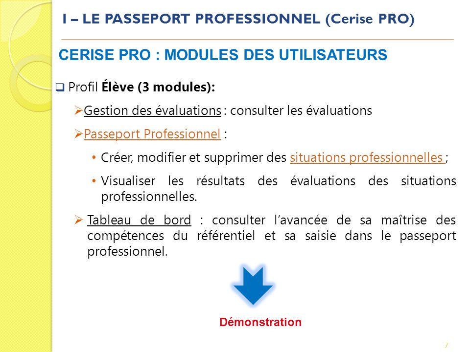 I – LE PASSEPORT PROFESSIONNEL (Cerise PRO) 7 CERISE PRO : MODULES DES UTILISATEURS Profil Élève (3 modules): Gestion des évaluations : consulter les