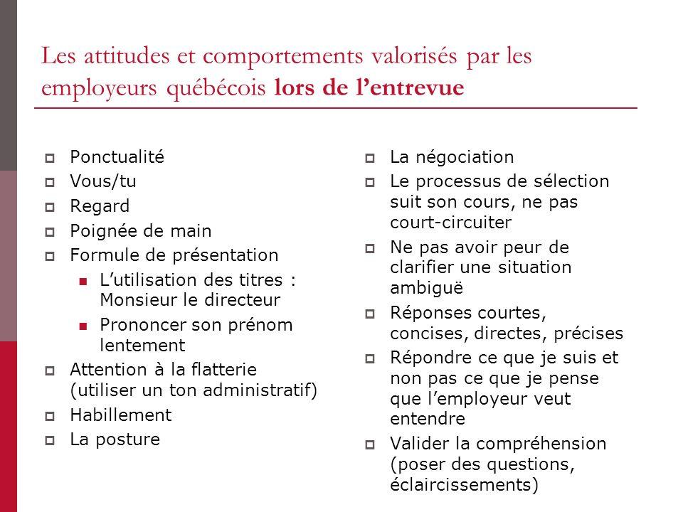 Les attitudes et comportements valorisés par les employeurs québécois lors de lentrevue Ponctualité Vous/tu Regard Poignée de main Formule de présenta