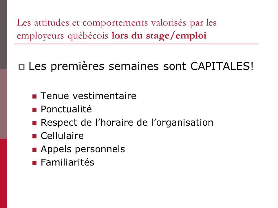 Les attitudes et comportements valorisés par les employeurs québécois lors du stage/emploi Les premières semaines sont CAPITALES! Tenue vestimentaire