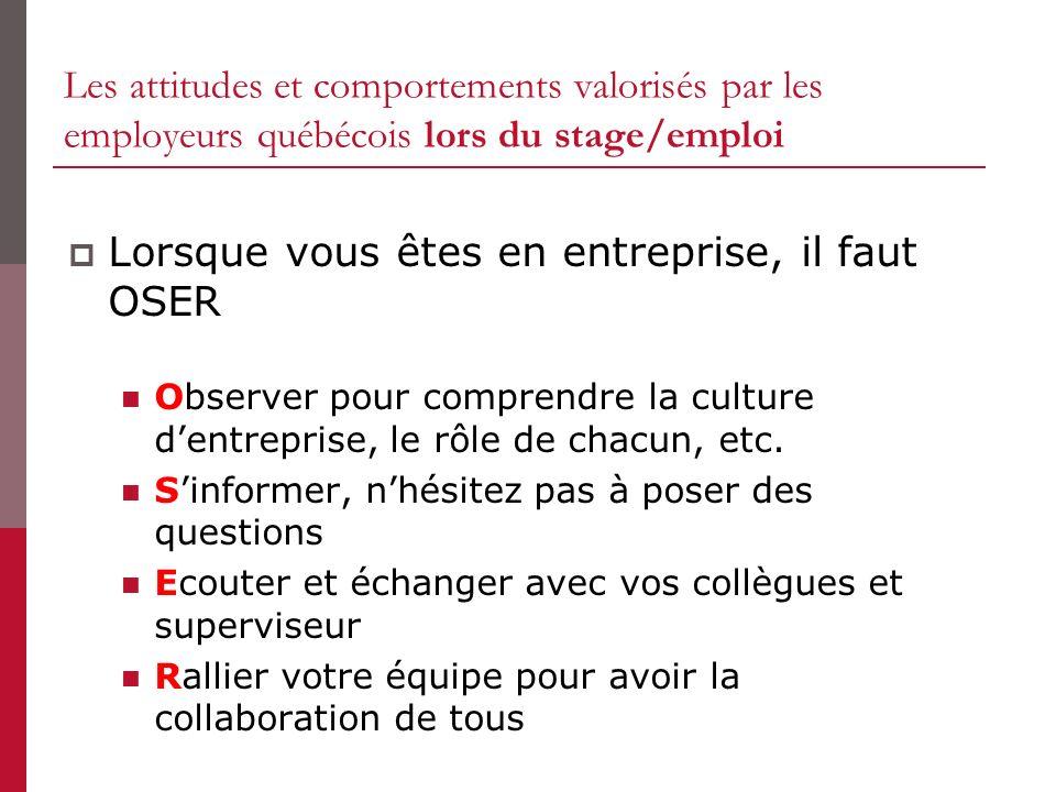 Les attitudes et comportements valorisés par les employeurs québécois lors du stage/emploi Lorsque vous êtes en entreprise, il faut OSER Observer pour comprendre la culture dentreprise, le rôle de chacun, etc.