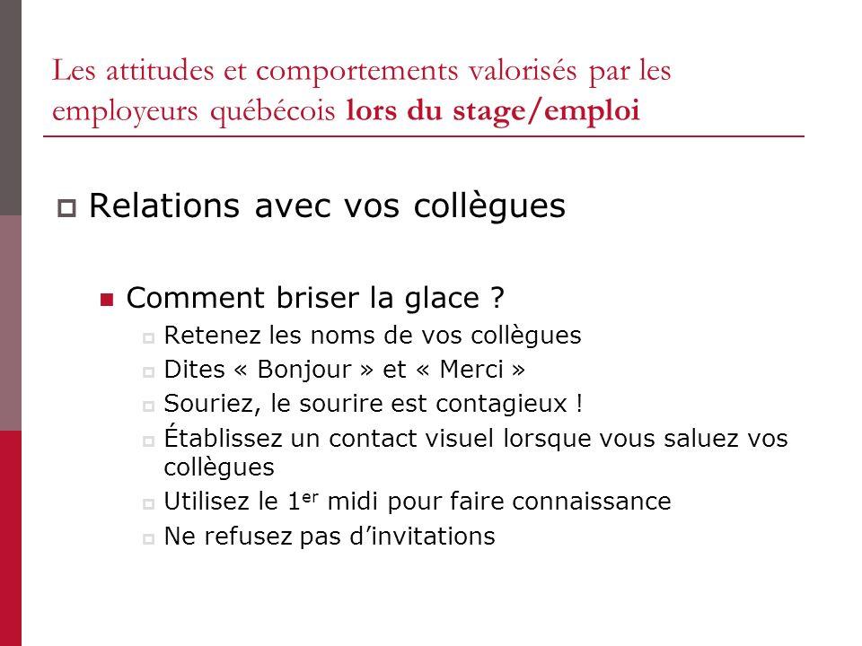 Les attitudes et comportements valorisés par les employeurs québécois lors du stage/emploi Relations avec vos collègues Comment briser la glace ? Rete