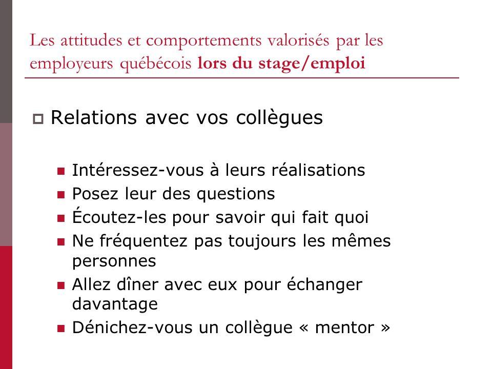 Les attitudes et comportements valorisés par les employeurs québécois lors du stage/emploi Relations avec vos collègues Intéressez-vous à leurs réalis