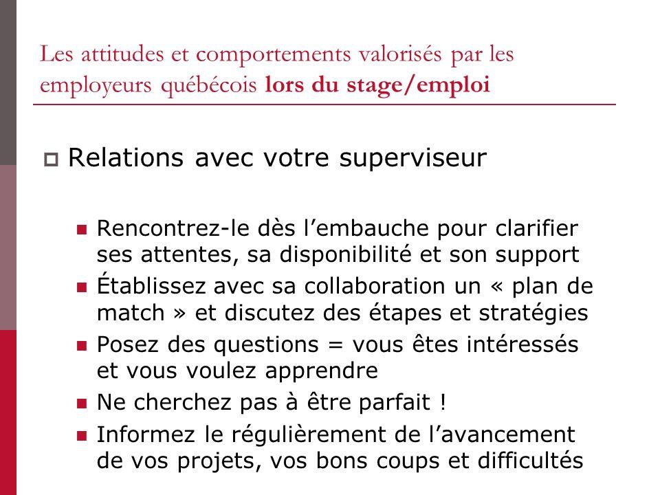 Les attitudes et comportements valorisés par les employeurs québécois lors du stage/emploi Relations avec votre superviseur Rencontrez-le dès lembauch