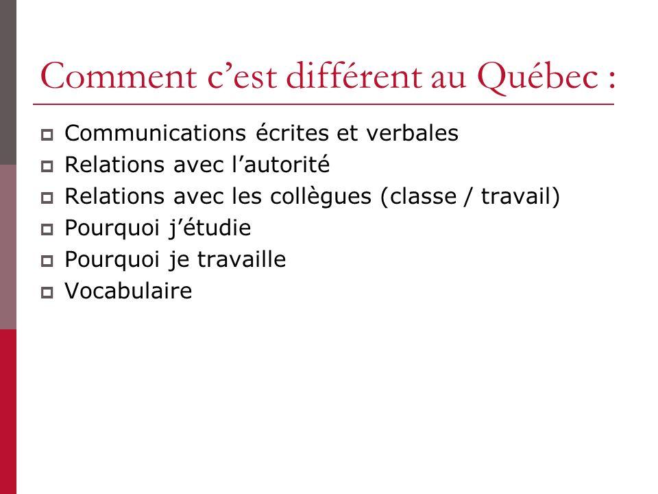 Comment cest différent au Québec : Communications écrites et verbales Relations avec lautorité Relations avec les collègues (classe / travail) Pourquoi jétudie Pourquoi je travaille Vocabulaire