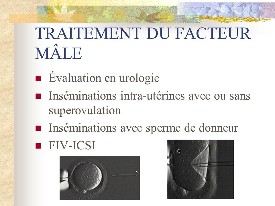TRAITEMENT DU FACTEUR MÂLE Évaluation en urologie Inséminations intra-utérines avec ou sans superovulation Inséminations avec sperme de donneur FIV-IC