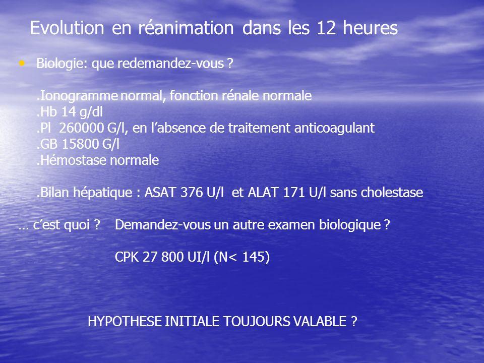 Evolution en réanimation dans les 12 heures Biologie: que redemandez-vous ?.Ionogramme normal, fonction rénale normale.Hb 14 g/dl.Pl 260000 G/l, en labsence de traitement anticoagulant.GB 15800 G/l.Hémostase normale.Bilan hépatique : ASAT 376 U/l et ALAT 171 U/l sans cholestase … cest quoi .