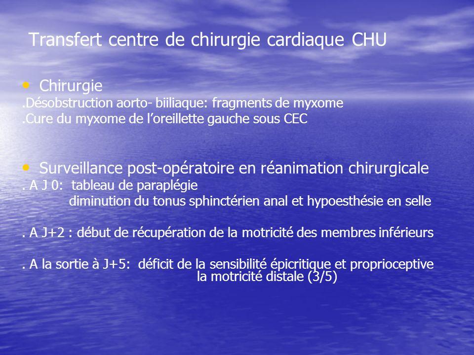 Transfert centre de chirurgie cardiaque CHU Chirurgie.Désobstruction aorto- biiliaque: fragments de myxome.Cure du myxome de loreillette gauche sous CEC Surveillance post-opératoire en réanimation chirurgicale.