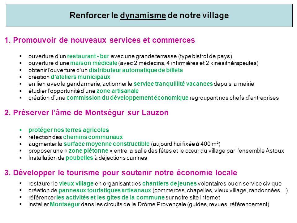 Renforcer le dynamisme de notre village 1. Promouvoir de nouveaux services et commerces ouverture dun restaurant - bar avec une grande terrasse (type