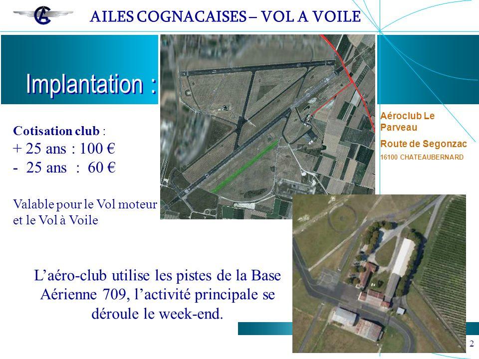 AILES COGNACAISES – VOL A VOILE 2 Implantation : Laéro-club utilise les pistes de la Base Aérienne 709, lactivité principale se déroule le week-end. C